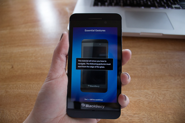 A Blackberry Z10, guiding us though the setup and gestures.