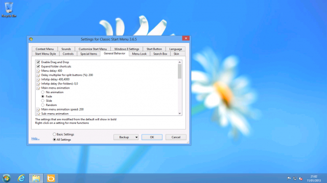 Classic Shell has many, many settings spread across a multitude of tabs.