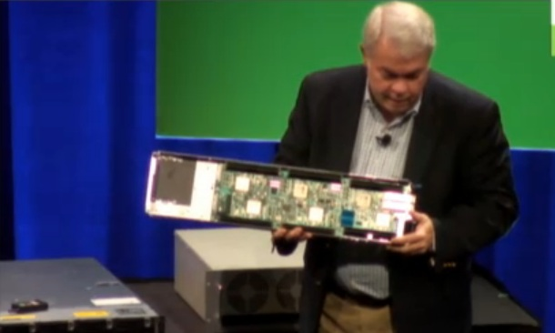 Dell's Chief Architect and Technologist Jimmy Pike shows an Iron board with six individual 64-bit ARM servers at the Open Compute Summit.