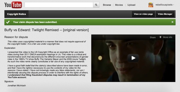 Buffy Vs Edward Remix Unfairly Removed By Lionsgate Ars Technica