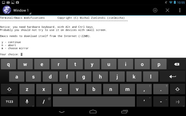 Emacs is such a serious text editor that you really won't want to use it without an actual keyboard.