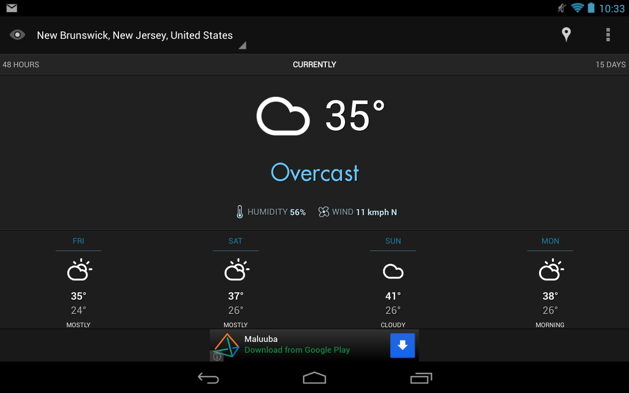 Eye In Sky looks slick and includes a number of efficient and useful widgets, a must for any weather app.