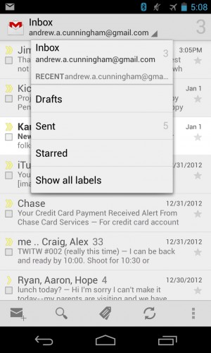 The stock Gmail and Email apps on our Nexus 4 look and act mostly the same, but the Gmail app is better integrated with Google's e-mail service.