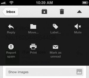 The Gmail for iOS app uses terms and icons that Gmail users will already be accustomed to.