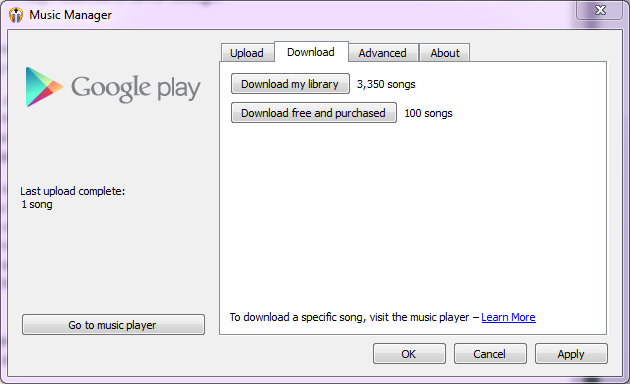 Google enables the ability to download your entire music library with one click of a button.