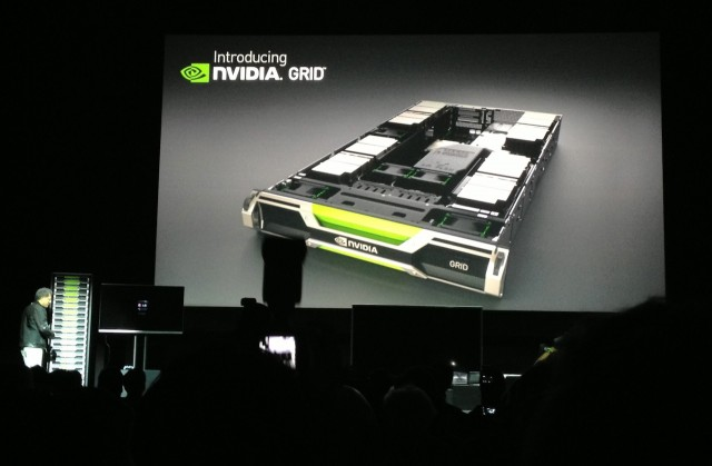 Nvidia CEO Jen-Hsun Huang unveils the Nvidia Grid server at the company's CES presentation.