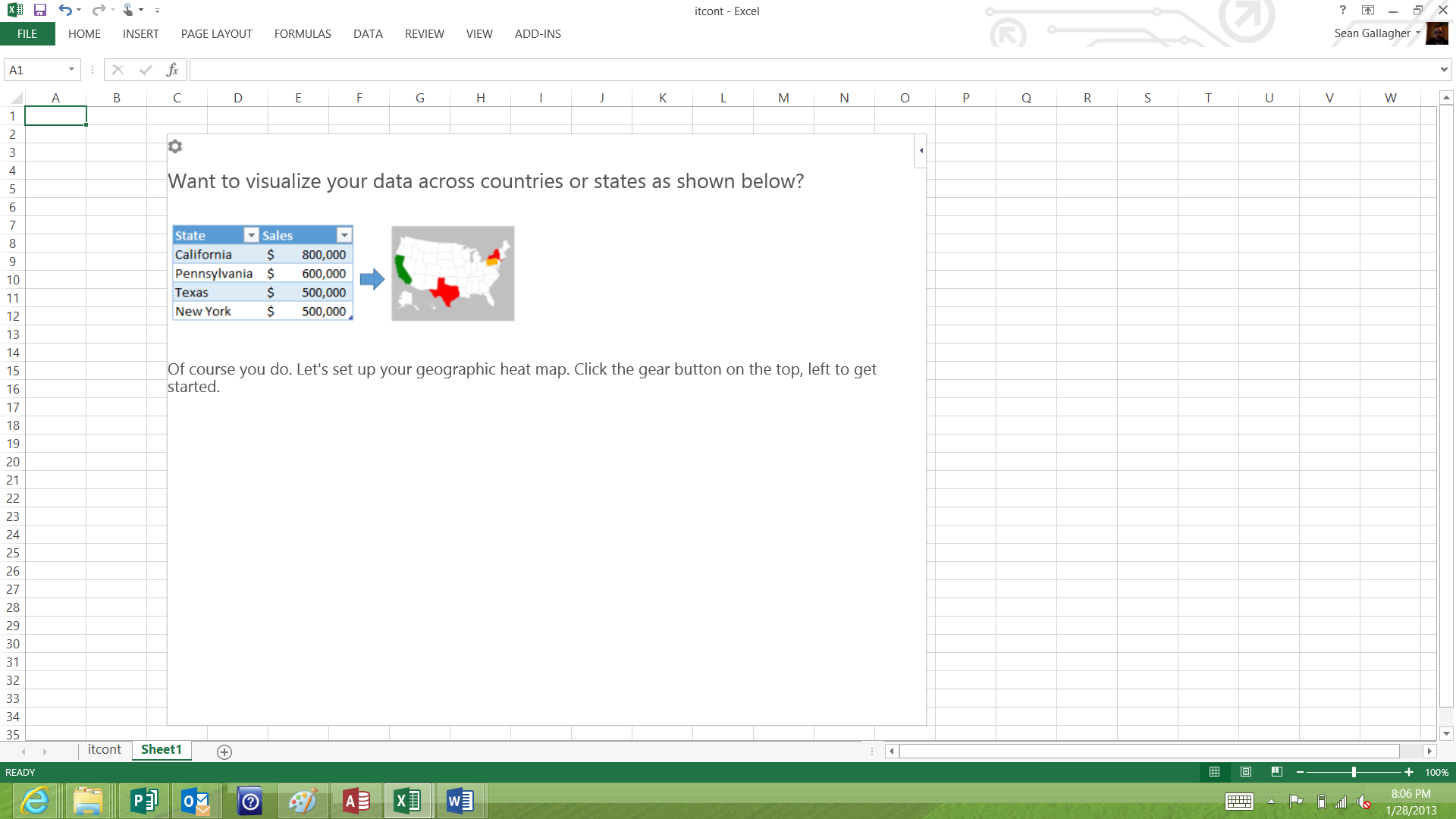 Geographic Heatmap, an app in the Apps for Office store for Excel, will map values against states (as long as your data spells states' names out rather than using postal abbreviations).