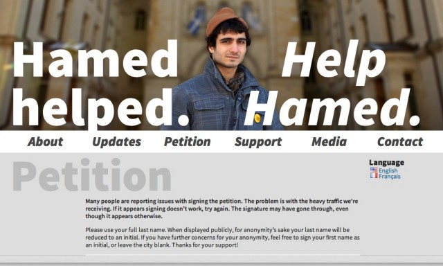 "An <a href=""http://www.hamedhelped.com/"">online petition drive</a> launched to reinstate Ahmed Al-Khabaz, a student expelled from Dawson College after running security scans on a student information system that exposed major weaknesses."