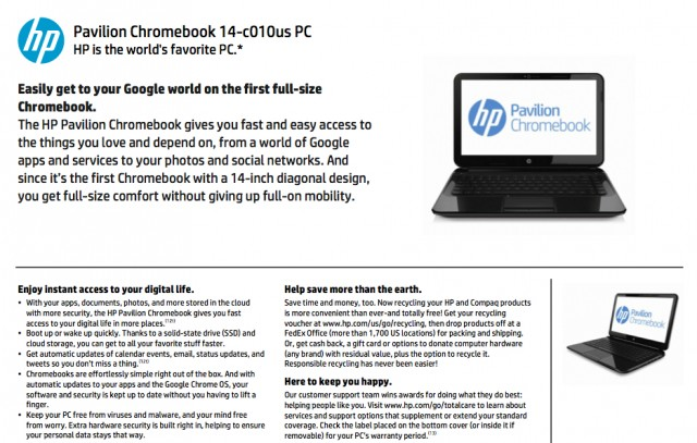 This leaked spec sheet shows what appears to be slightly modified version of the Pavilion Sleekbook 14-b010us.