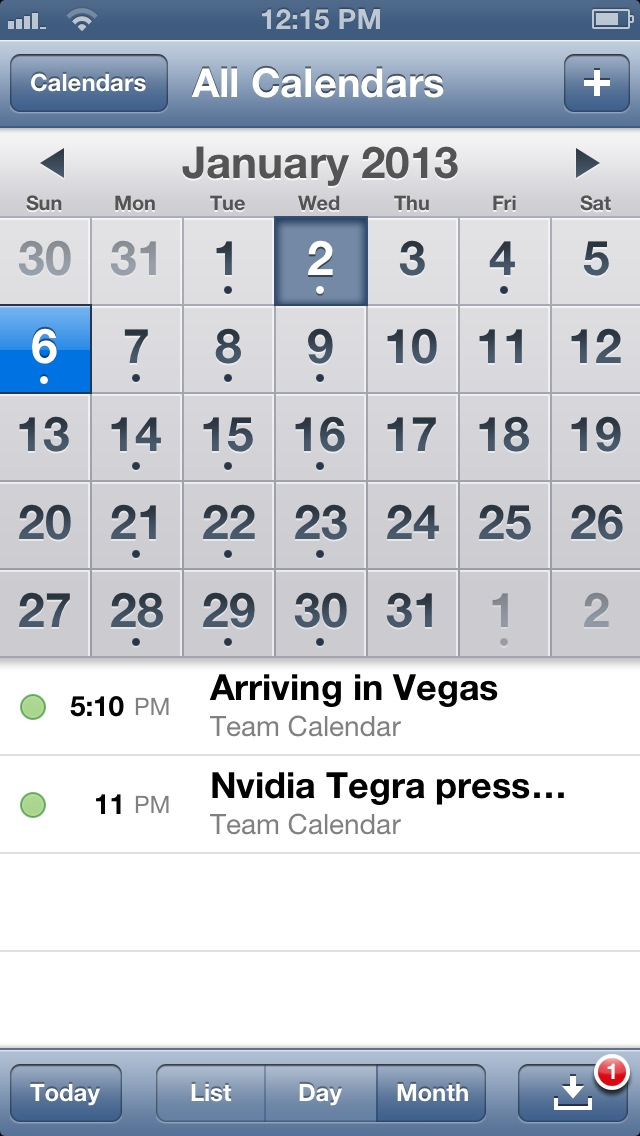The iOS calendar app in monthly view.