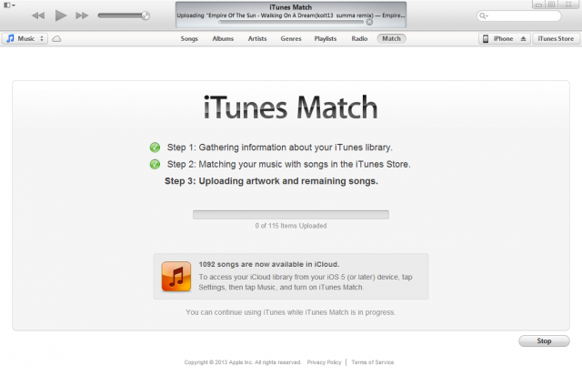 iTunes Match requires the use of the iTunes desktop client for syncing and matching music.