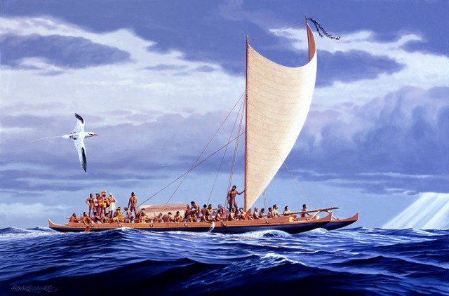 An artist's depiction of the canoes used by the Polynesians of the Hawaiian Islands.