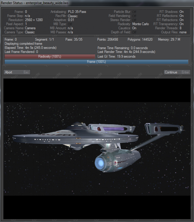 Rendering the default scene that comes with Dennis Bailey's <em>Enterprise</em> model. This scene took 4 minutes and 5 seconds to render in 2560×1440 resolution.