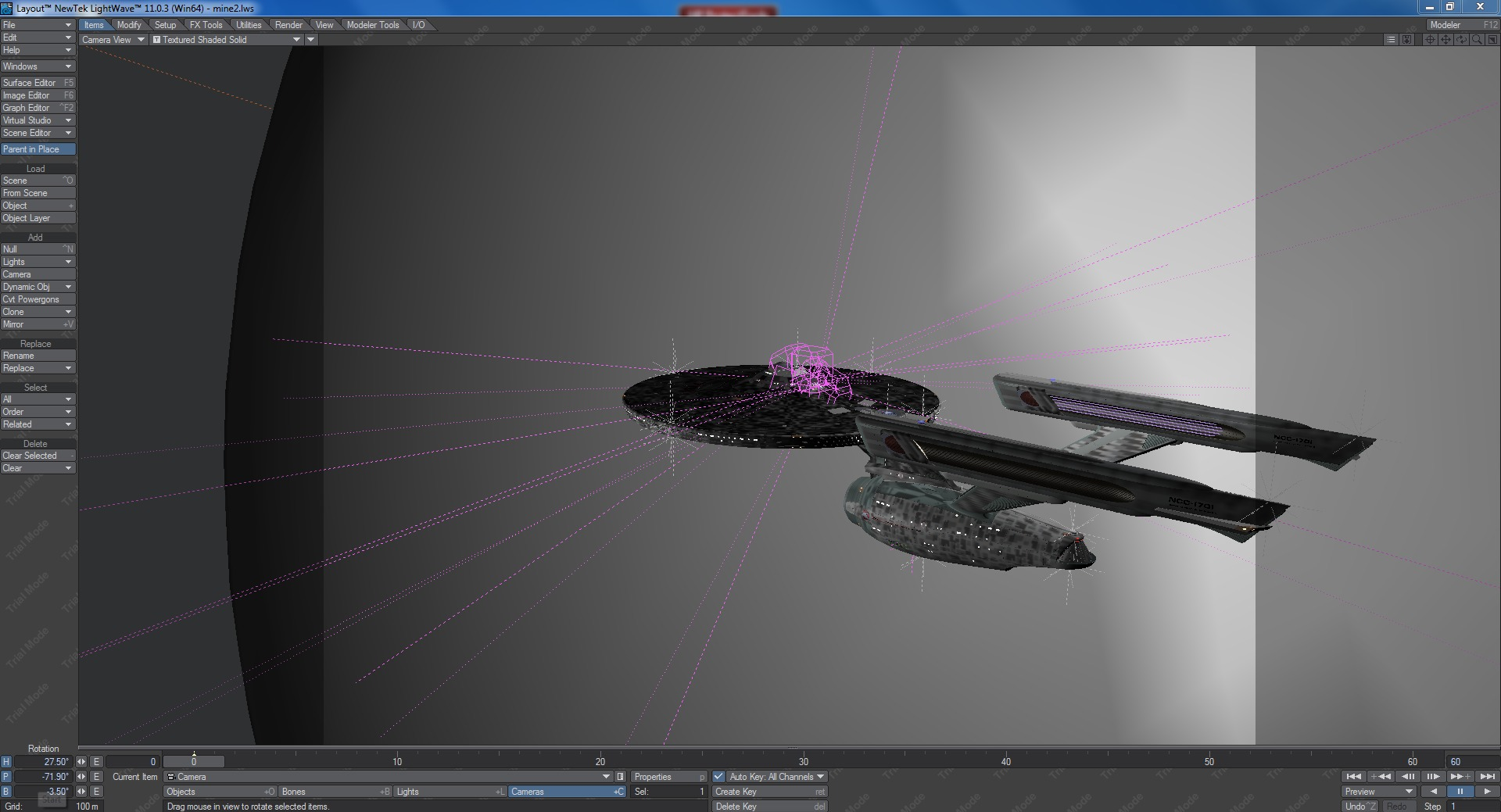 Noodling around in Layout, the portion of the Lightwave 3D suite in which you position and light models and set up animation keyframes, among other things.