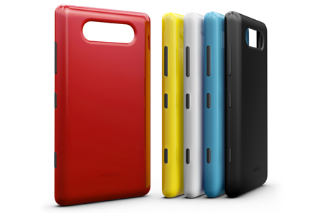 Back covers for the Lumia 820, which are now 3D-printable by customers.