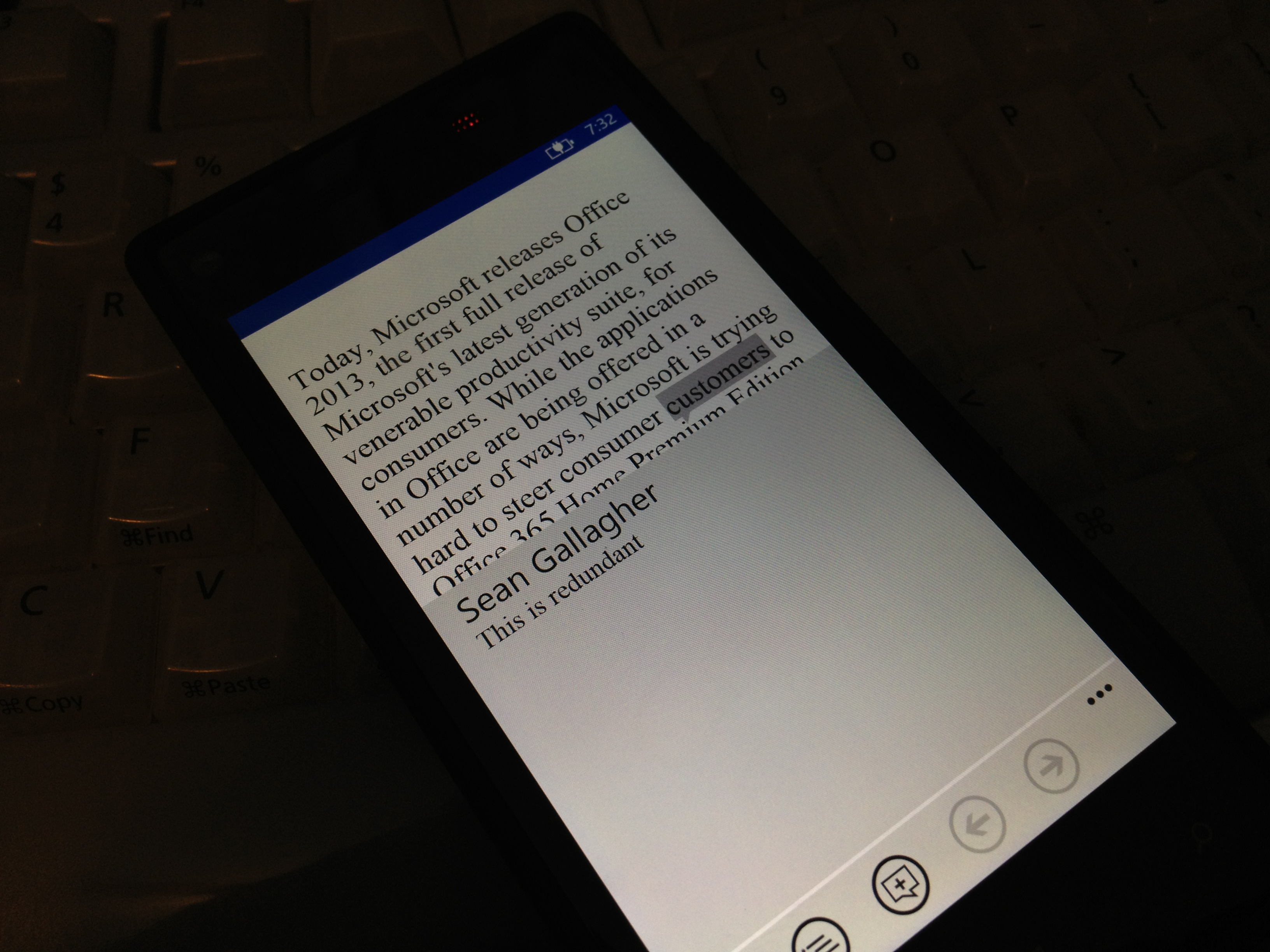 The same document, opened from Skydrive on an HTC 8x in Windows Phone 8's Office app.