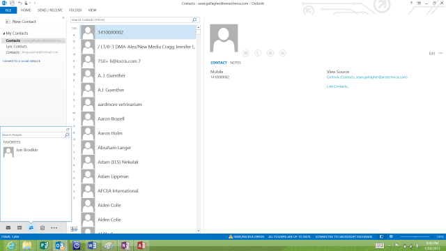 "A look at Outlook's ""peeks"" within the contact management view."