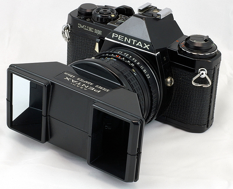 Pentax's second generation Stereo Adapter on an ME Super.