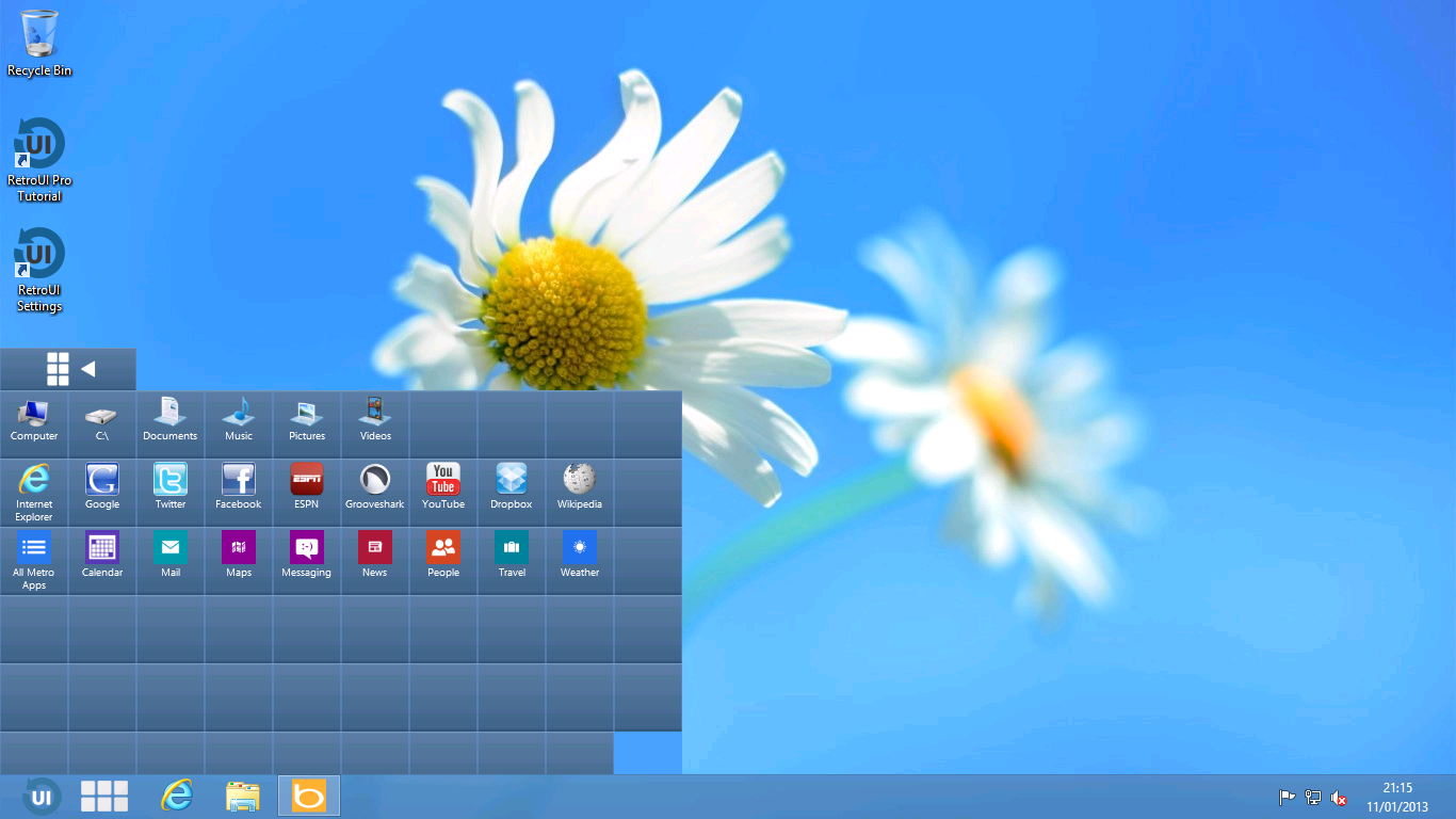 RetroUI's other taskbar button presents a grid of apps.