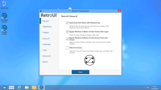 RetroUI's settings screens.