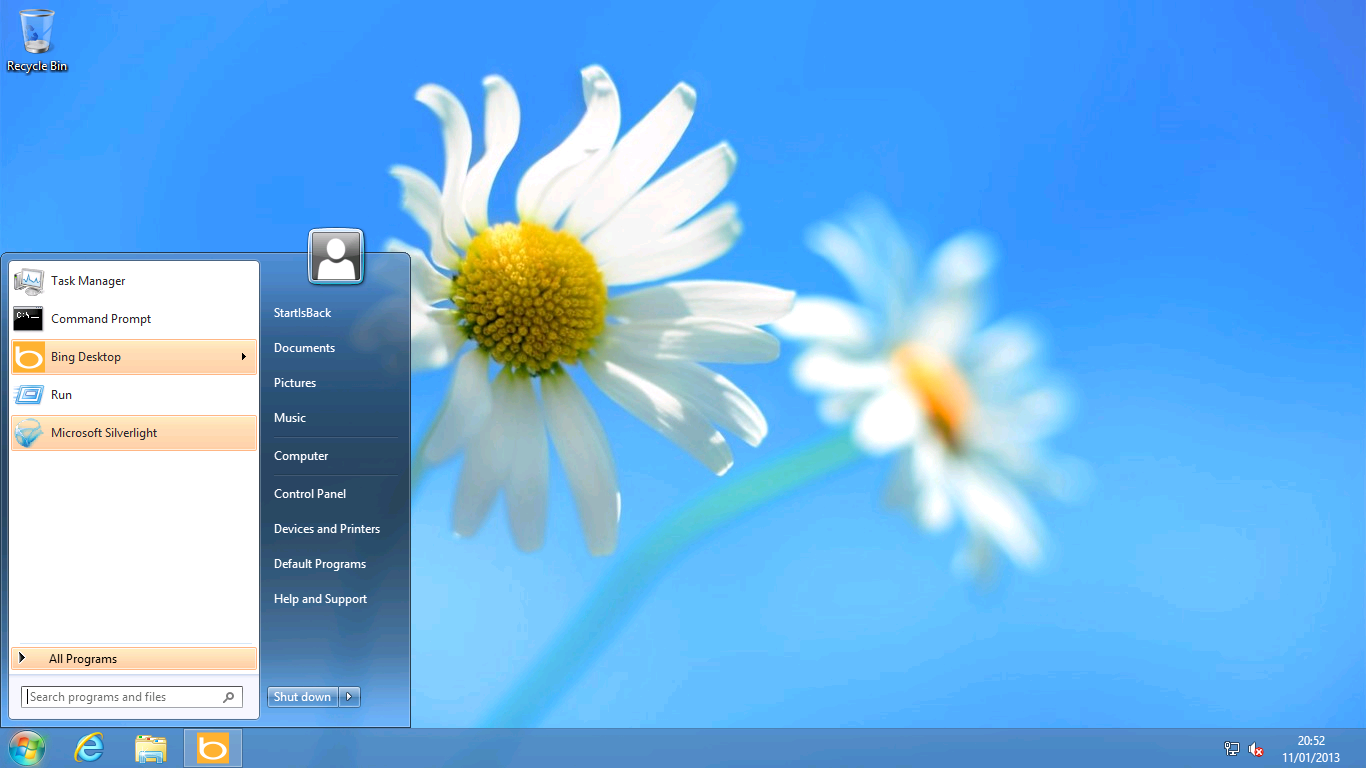 StartIsBack in action. Imperceptibly different from the Windows 7 original.