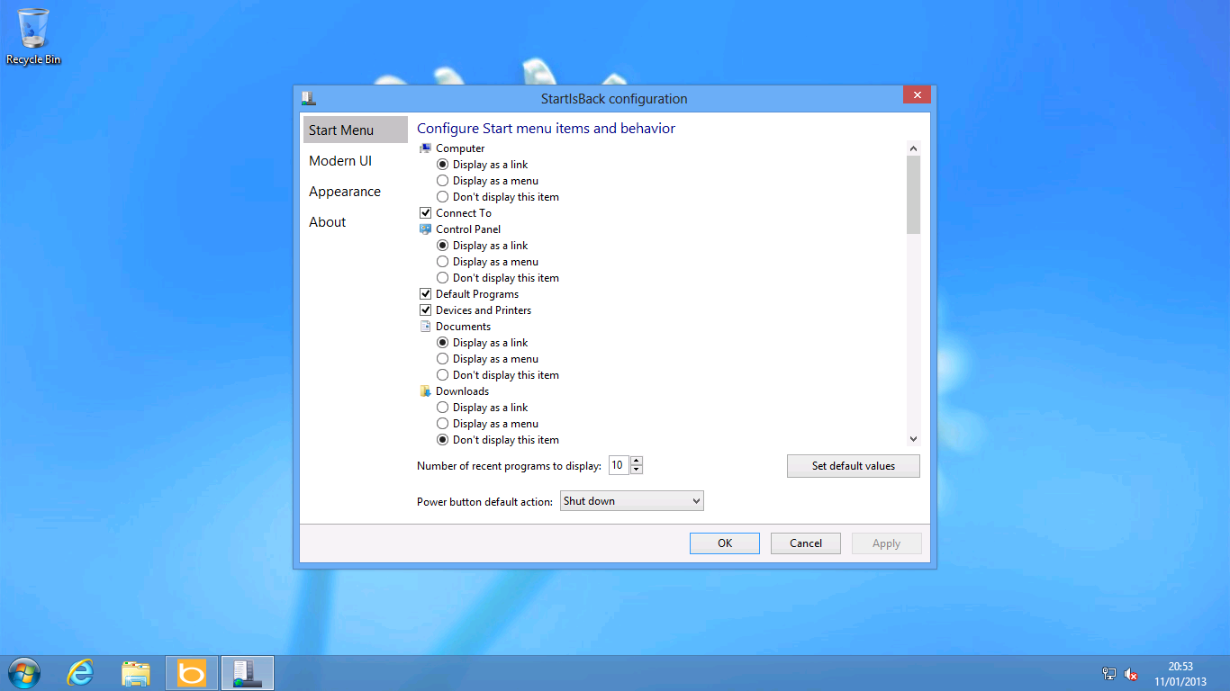StartIsBack takes the traditional Windows 7 Start menu settings and sticks them in a window.