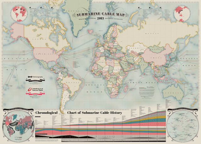 A map of the world and the cables that keep us connected.