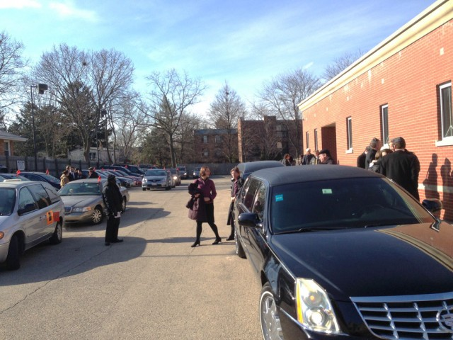 Mourners leaving Central Avenue Synagogue after the funeral for Aaron Swartz.