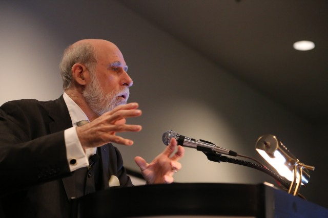 Internet co-creator Vint Cerf speaking at CES.