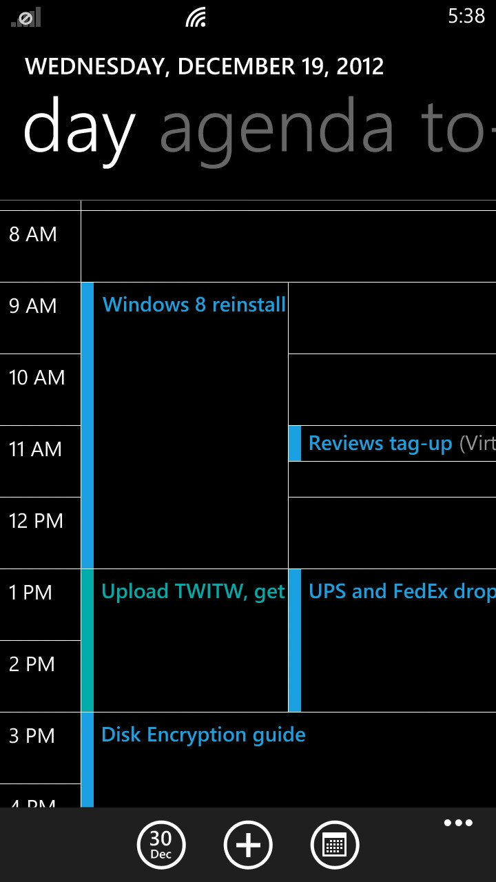"The default ""day"" view in the Windows Phone 8 calendar."