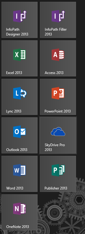 The Office 2013 Pro Plus suite, as seen from the Windows 8 Start Screen.