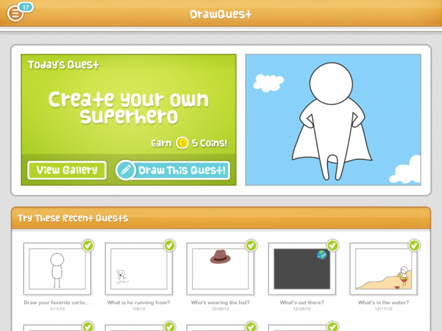 The home screen of DrawQuest, where users can access old quests.