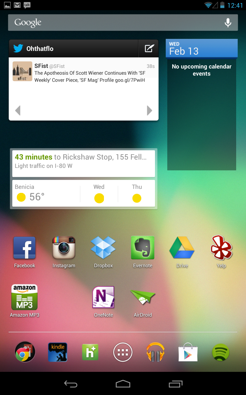 The Google Now widget on the Nexus 7 tablet.