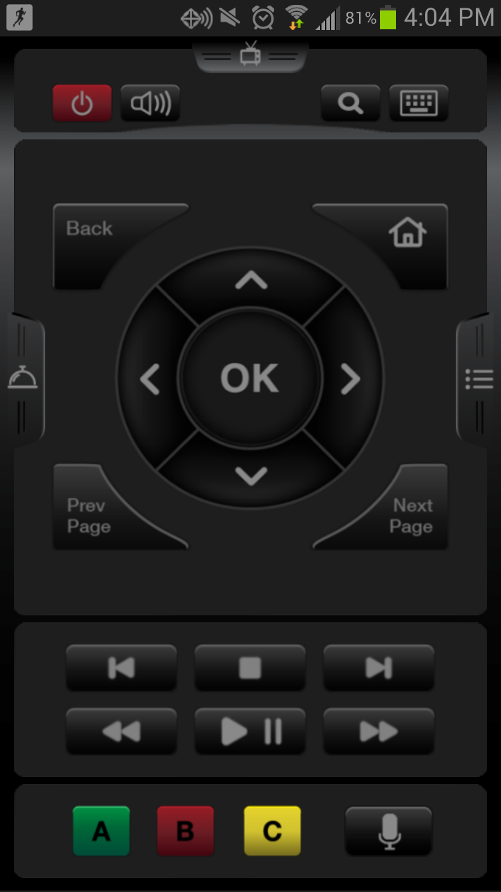 A glimpse at the WD TV Remote app for Android.