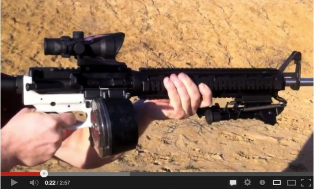 "The white portion of this AR-15, known as the ""lower,"" was manufactured using 3D printing."