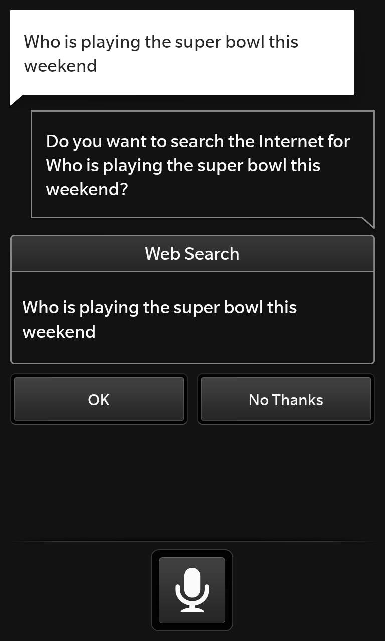 BlackBerry won't tell me who is playing the Super Bowl.