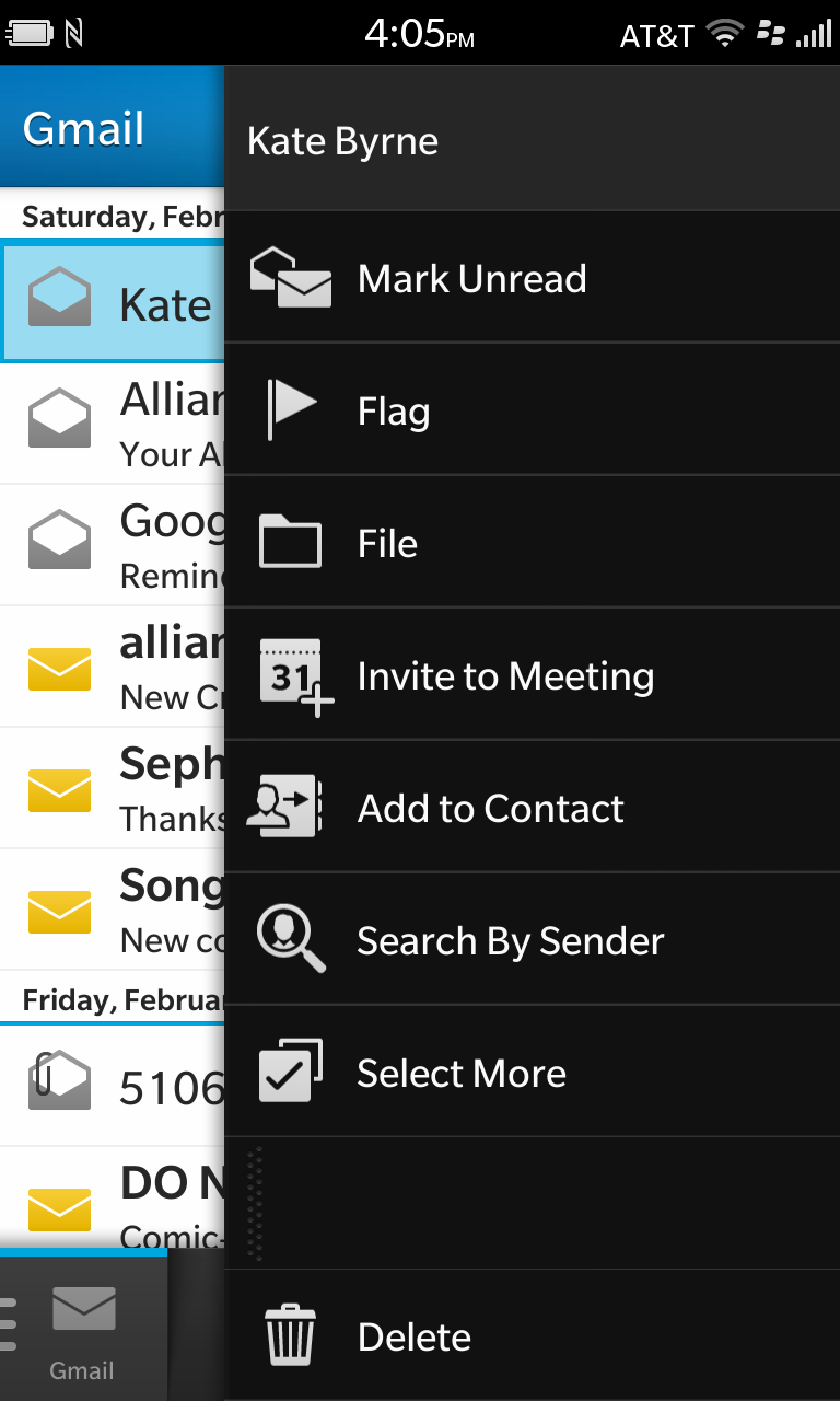 Hit Select More to pick what action to take with the selected messages.
