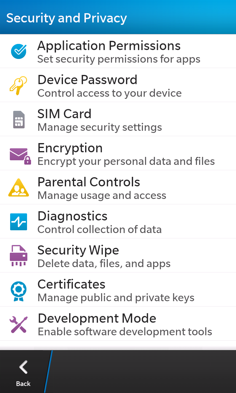 A quick look at the BlackBerry 10's security and privacy panel.