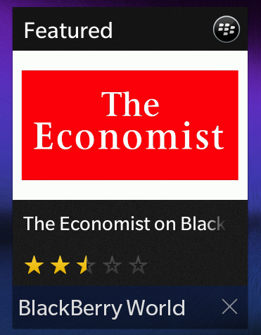 The BlackBerry World screen acts like a widget on the running apps screen by cycling through featured content.