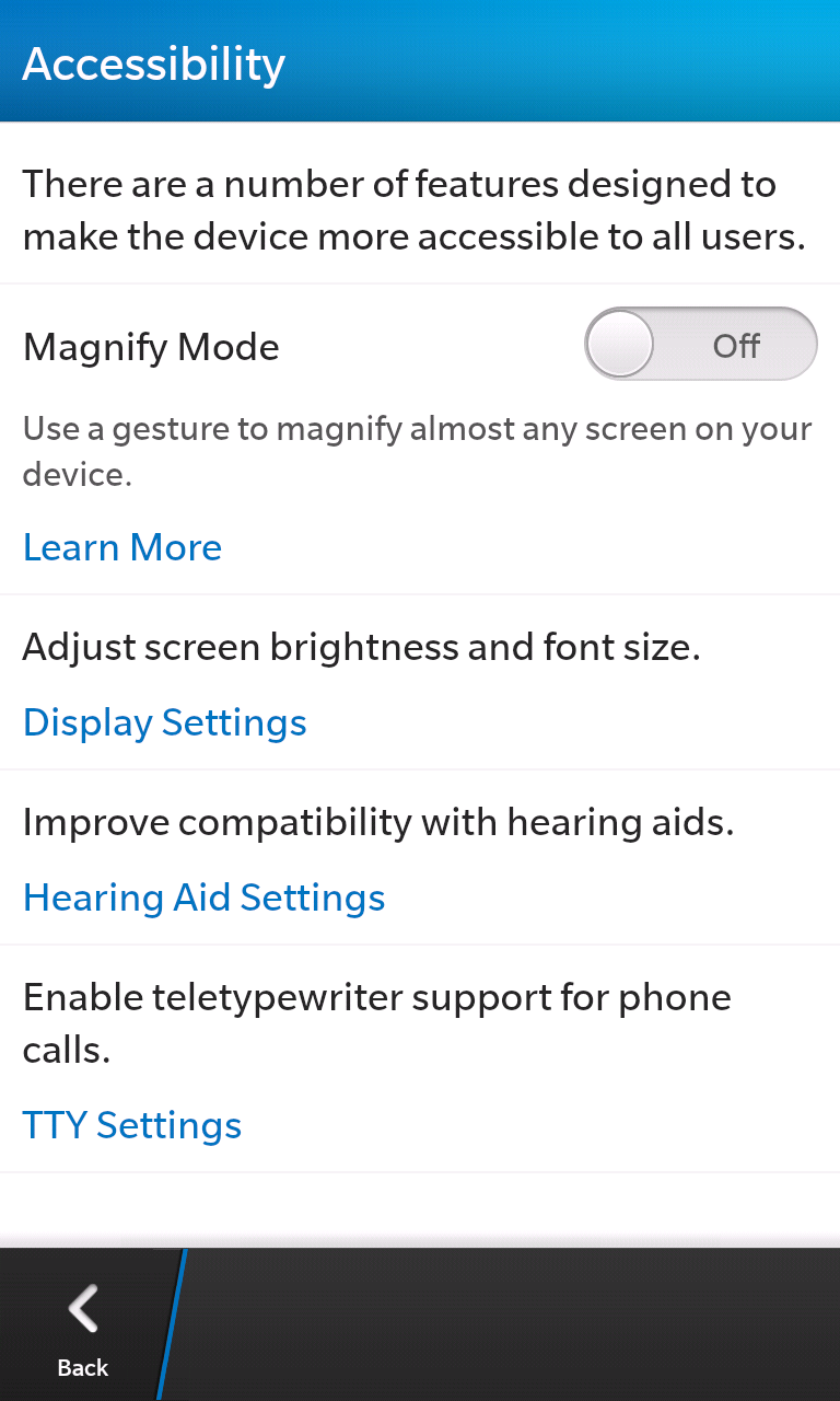 BlackBerry 10 features a slew of accessibility options.