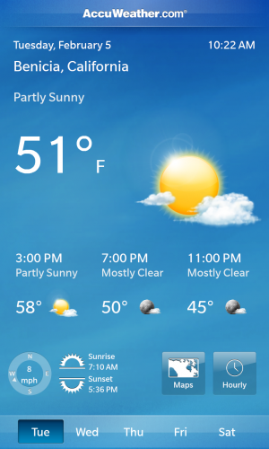 BlackBerry 10's stock weather app is very bare bones.