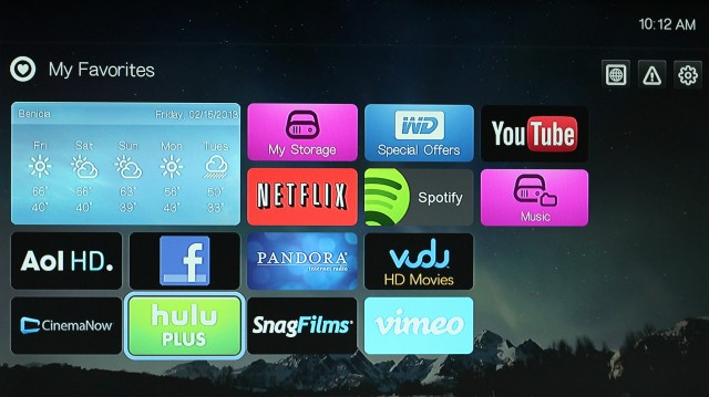 The WD TV Play's home screen.