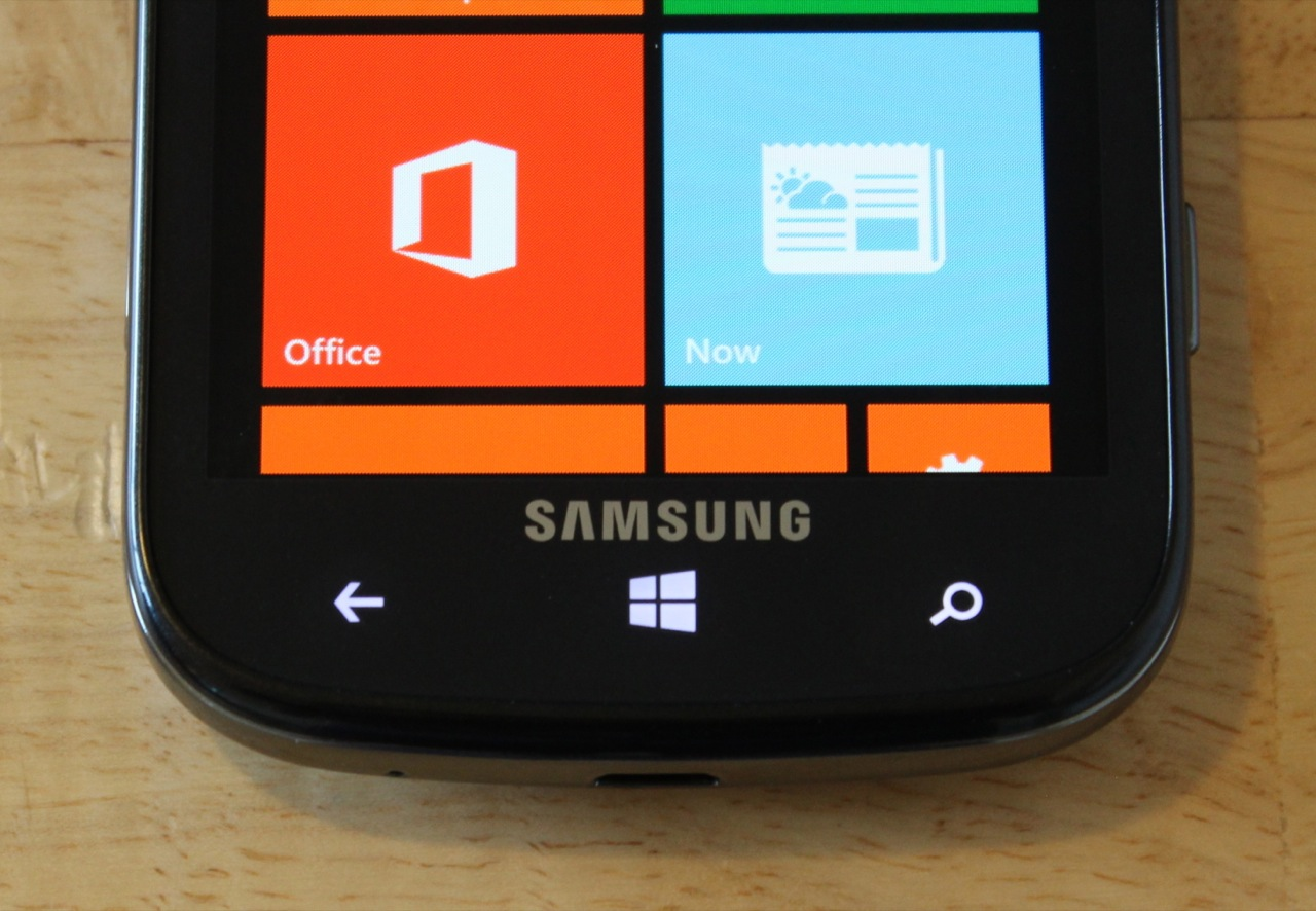 The Windows Phone navigation buttons light up when you interact with them.