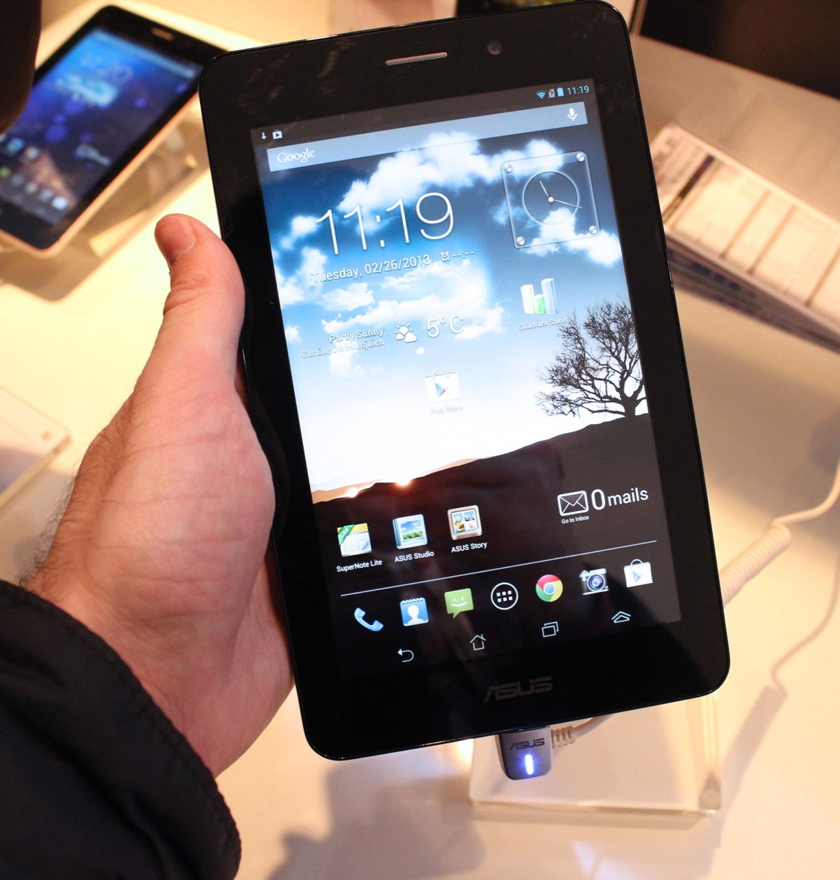 The Asus FonePad runs Android 4.1 on an Intel processor and will let you make phone calls; otherwise it's very Nexus 7-like.
