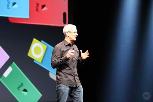 Apple CEO Tim Cook speaking during a September 2012 media event.