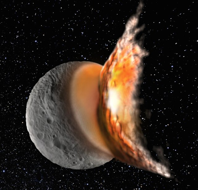 Artist's impression of the huge impact that deformed the protoplanetary asteroid Vesta, leaving the large impact basin we see today.