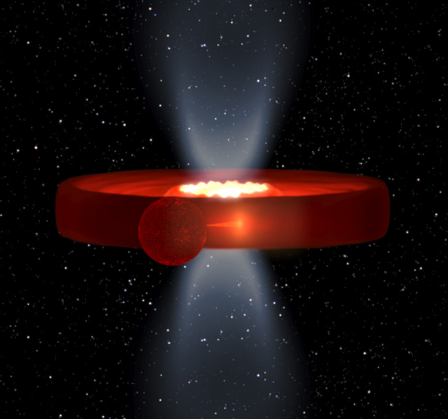 Simulation of a black hole with a companion star and thick, donut-shaped accretion disk. The disk obscures the black hole from our view, which may help explain why we see fewer of these systems than expected.