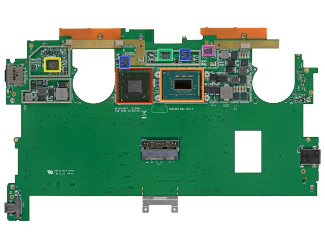 The underside of the Surface Pro's motherboard, showing the i5-3317U outlined in orange.
