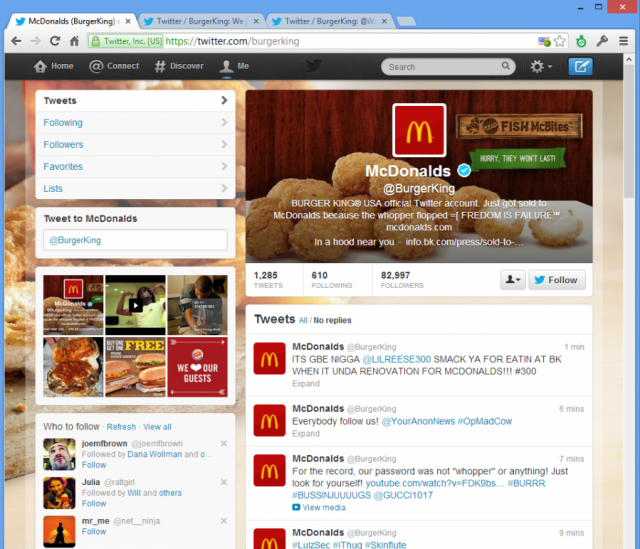 Burger King's hacked account.
