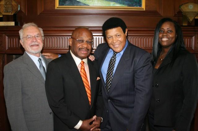 Left to right: Chubby Checker Attorney Robert Parenti, Attorney Willie E. Gary, Chubby Checker, Attorney Alicia M. Phidd.  (PRNewsFoto/Gary, Williams, Parenti, Watson & Gary, P.L.)